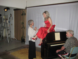 Ina coaches Nikki Gratson, as pianist Craig Kupka waits for cue on set of 'Thanks for the Boobs!'