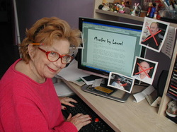 Footprints Author Laurel Shapiro, at work on one of her fav genres, Murder by Laurel